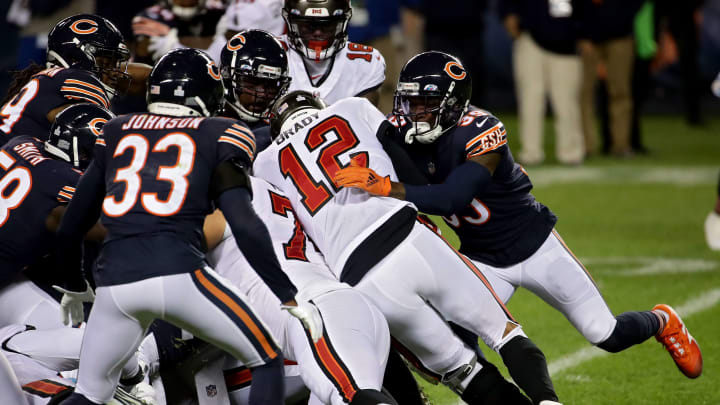 Tom Brady being tackled by all of the Chicago Bears at once.