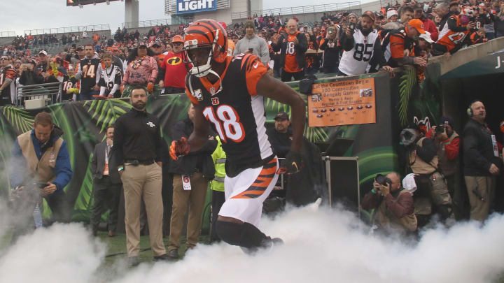 CINCINNATI, OH - OCTOBER 28:  A.J. Green #18 of the Cincinnati Bengals takes the field for the game against the Tampa Bay Bucccaneers at Paul Brown Stadium on October 28, 2018 in Cincinnati, Ohio. The Bengals defeated the Buccaneers 37-34.  (Photo by John Grieshop/Getty Images)