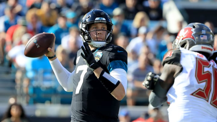 JACKSONVILLE, FLORIDA - DECEMBER 01: Nick Foles #7 of the Jacksonville Jaguars attempts a pass during the game against the Tampa Bay Buccaneers at TIAA Bank Field on December 01, 2019 in Jacksonville, Florida. (Photo by Sam Greenwood/Getty Images)