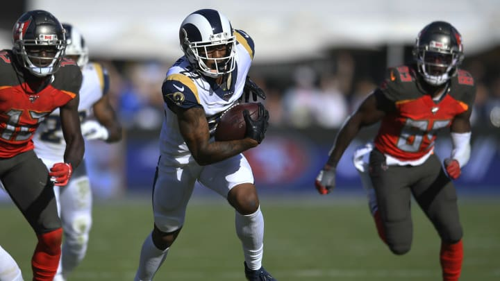LOS ANGELES, CA - SEPTEMBER 29: Marcus Peters #22 of the Los Angeles Rams runs back an interception against the Tampa Bay Buccaneers at Los Angeles Memorial Coliseum on September 29, 2019 in Los Angeles, California. Tampa Bay won 55-40. (Photo by John McCoy/Getty Images)