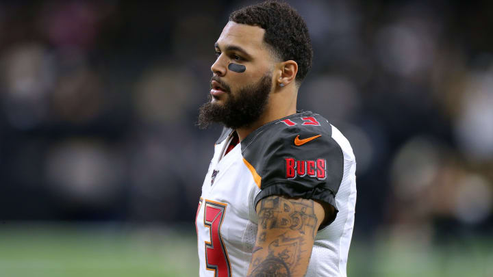 NEW ORLEANS, LOUISIANA - OCTOBER 06: Mike Evans #13 of the Tampa Bay Buccaneers reacts during a game against the New Orleans Saints at the Mercedes Benz Superdome on October 06, 2019 in New Orleans, Louisiana. (Photo by Jonathan Bachman/Getty Images)