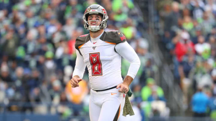 SEATTLE, WASHINGTON - NOVEMBER 03: Matt Gay #9 of the Tampa Bay Buccaneers looks on after making a 41 yard field goal in the third quarter against the Seattle Seahawks during their game at CenturyLink Field on November 03, 2019 in Seattle, Washington. (Photo by Abbie Parr/Getty Images)