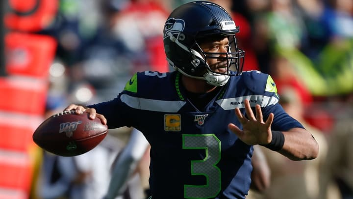 SEATTLE, WA - NOVEMBER 03:  Quarterback Russell Wilson #3 of the Seattle Seahawks passes against the Tampa Bay Buccaneers in the first quarter at CenturyLink Field on November 3, 2019 in Seattle, Washington.  (Photo by Otto Greule Jr/Getty Images)