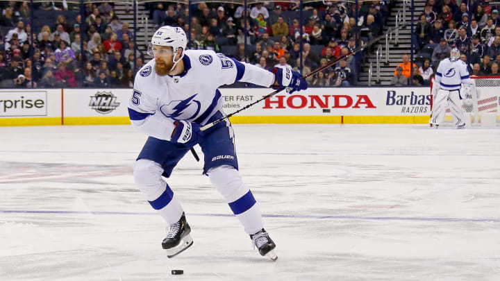 COLUMBUS, OH - FEBRUARY 18:  Braydon Coburn #55 of the Tampa Bay Lightning shoots the puck during the game against the Columbus Blue Jackets on February 18, 2019 at Nationwide Arena in Columbus, Ohio. (Photo by Kirk Irwin/Getty Images)