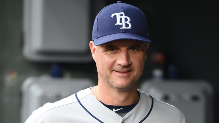 BALTIMORE, MD - MAY 03:  Bench coach Matt Quatraro #33 of the Tampa Bay Rays looks on before a baseball game against the Baltimore Orioles at Oriole Park at Camden Yards on May 3, 2019 in Baltimore. Maryland.  (Photo by Mitchell Layton/Getty Images)