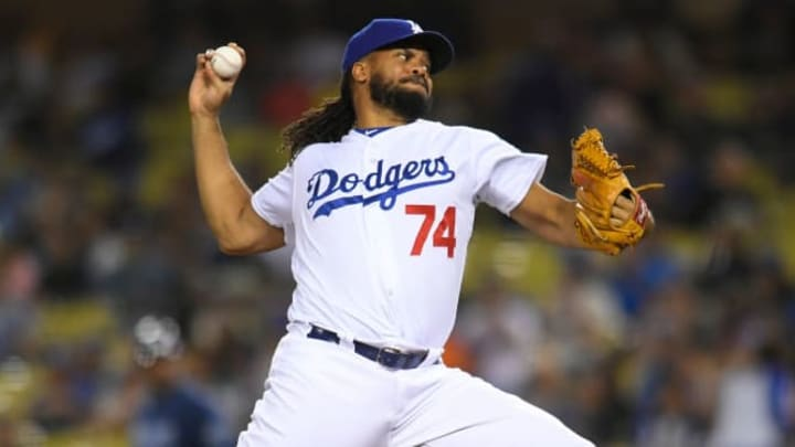 LOS ANGELES, CA - SEPTEMBER 18: Kenley Jansen #74 of the Los Angeles Dodgers gives up two runs in the ninth inning against the Tampa Bay Rays sending the game into extra innings at Dodger Stadium on September 18, 2019 in Los Angeles, California. (Photo by John McCoy/Getty Images)