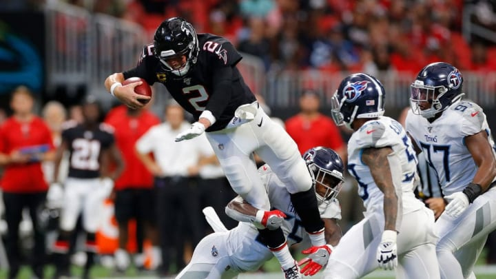 ATLANTA, GEORGIA - SEPTEMBER 29:  Jayon Brown #55 of the Tennessee Titans tackled Matt Ryan #2 of the Atlanta Falcons at Mercedes-Benz Stadium on September 29, 2019 in Atlanta, Georgia. (Photo by Kevin C. Cox/Getty Images)