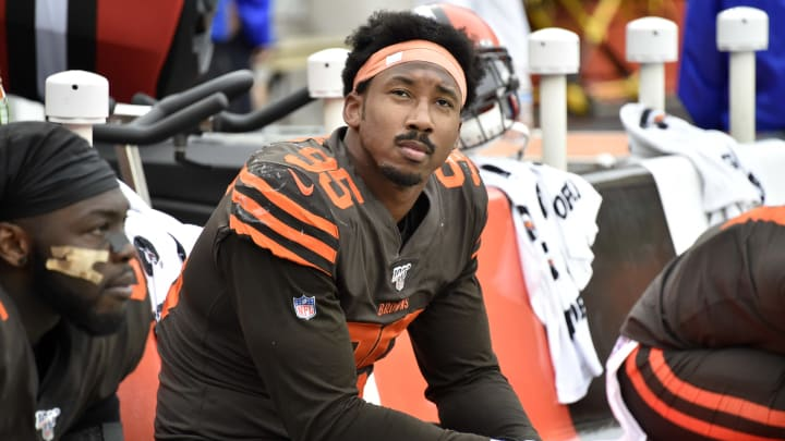 CLEVELAND, OHIO - SEPTEMBER 08: Defensive end Myles Garrett #95 of the Cleveland Browns watches the final minutes against the Tennessee Titans from the bench at FirstEnergy Stadium on September 08, 2019 in Cleveland, Ohio. The Titans defeated the Browns 43-13.  (Photo by Jason Miller/Getty Images)