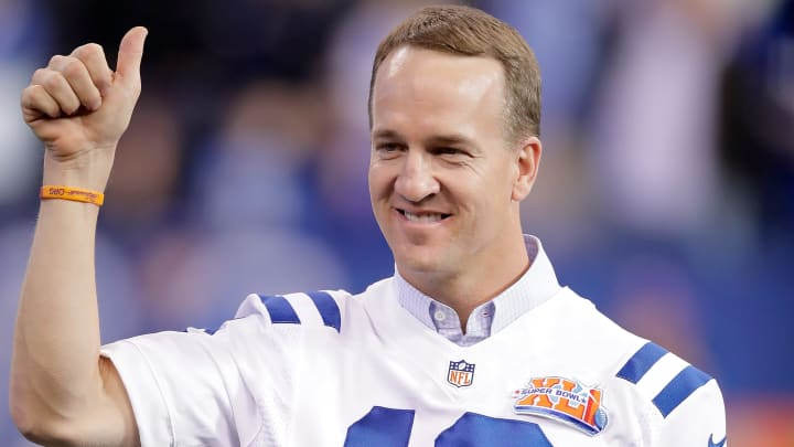 INDIANAPOLIS, IN - NOVEMBER 20:  Peyton Manning, former Indianapolis Colts quarterback, reacts during a ceremony honoring the 10 year anniversary of the Super Bowl winning team during the halftime of the game between the Indianapolis Colts and the Tennessee Titans at Lucas Oil Stadium on November 20, 2016 in Indianapolis, Indiana.  (Photo by Andy Lyons/Getty Images)