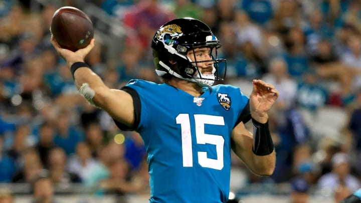 JACKSONVILLE, FLORIDA - SEPTEMBER 19: Gardner Minshew #15 of the Jacksonville Jaguars passes during a game against the Tennessee Titans at TIAA Bank Field on September 19, 2019 in Jacksonville, Florida. (Photo by Mike Ehrmann/Getty Images)
