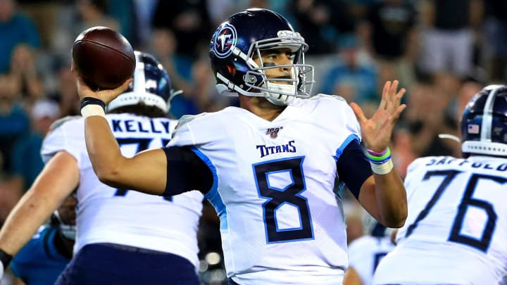JACKSONVILLE, FLORIDA - SEPTEMBER 19: Marcus Mariota #8 of the Tennessee Titans passes during a game against the Jacksonville Jaguars at TIAA Bank Field on September 19, 2019 in Jacksonville, Florida. (Photo by Mike Ehrmann/Getty Images)