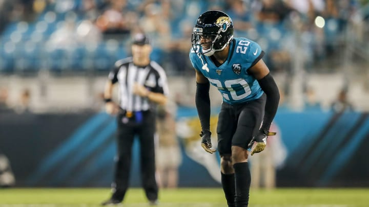 JACKSONVILLE, FLORIDA - SEPTEMBER 19: Jalen Ramsey #20 of the Jacksonville Jaguars looks on during a game against the Tennessee Titans at TIAA Bank Field on September 19, 2019 in Jacksonville, Florida. (Photo by James Gilbert/Getty Images)