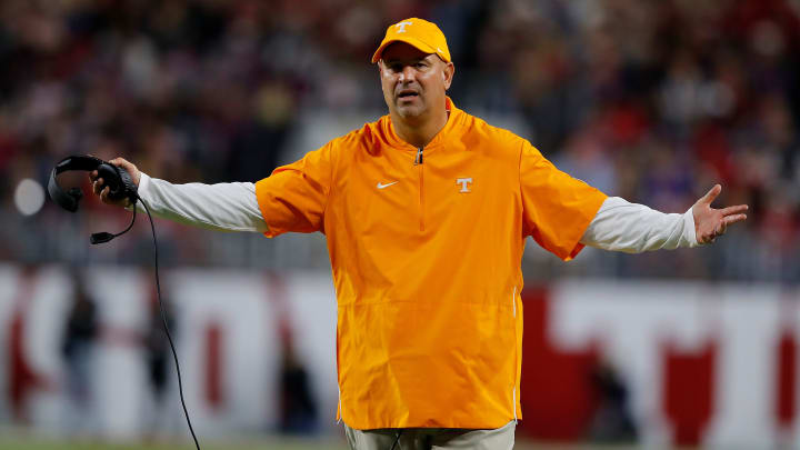 TUSCALOOSA, ALABAMA - OCTOBER 19:  Head coach Jeremy Pruitt of the Tennessee Volunteers reacts against the Alabama Crimson Tide at Bryant-Denny Stadium on October 19, 2019 in Tuscaloosa, Alabama. (Photo by Kevin C. Cox/Getty Images)