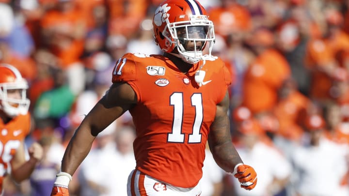 CLEMSON, SC - SEPTEMBER 07: Isaiah Simmons #11 of the Clemson Tigers runs on defense during a game against the Texas A&M Aggies at Memorial Stadium on September 7, 2019 in Clemson, South Carolina. Clemson defeated Texas A&M 24-10. (Photo by Joe Robbins/Getty Images)