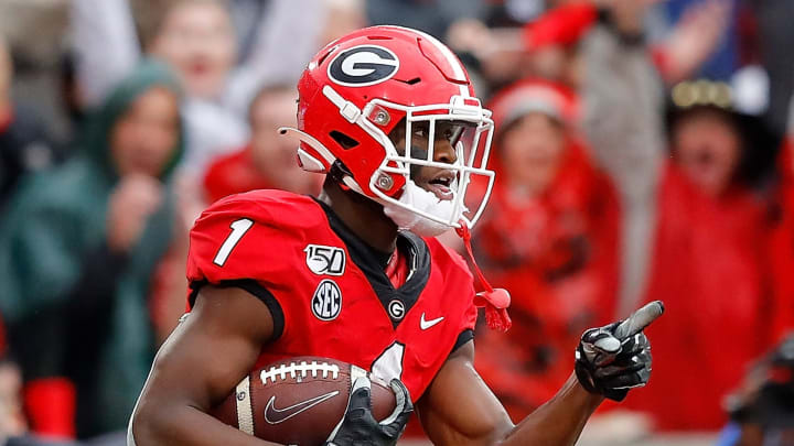 ATHENS, GEORGIA - NOVEMBER 23:  George Pickens #1 of the Georgia Bulldogs reacts after pulling in a reception for a touchdown against the Texas A&M Aggies in the first half at Sanford Stadium on November 23, 2019 in Athens, Georgia. (Photo by Kevin C. Cox/Getty Images)