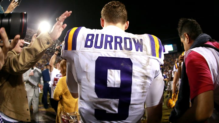 Joe Burrow during interview after game against Texas A&M