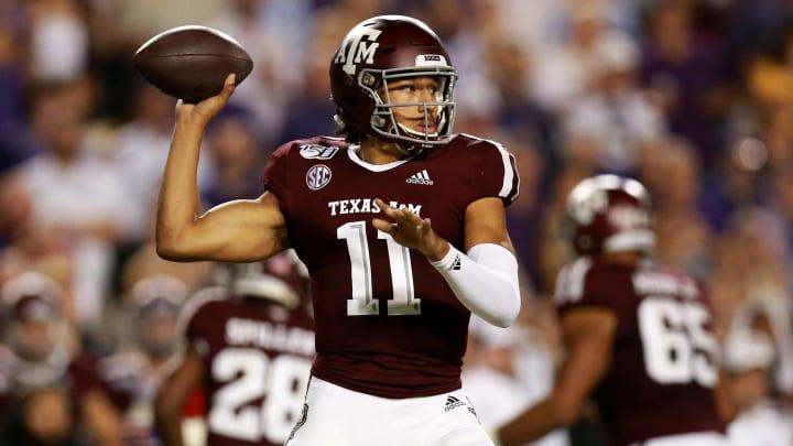 Texas A&M quarterback Kellen Mond attempts a pass in a Week 14 game against LSU.