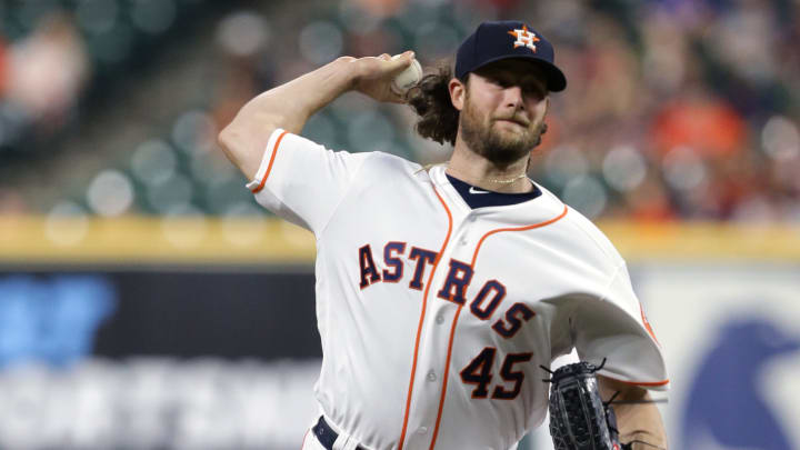 HOUSTON, TEXAS - SEPTEMBER 18: Gerrit Cole #45 of the Houston Astros p;itches against the Texas Rangers at Minute Maid Park on September 18, 2019 in Houston, Texas. (Photo by Bob Levey/Getty Images)