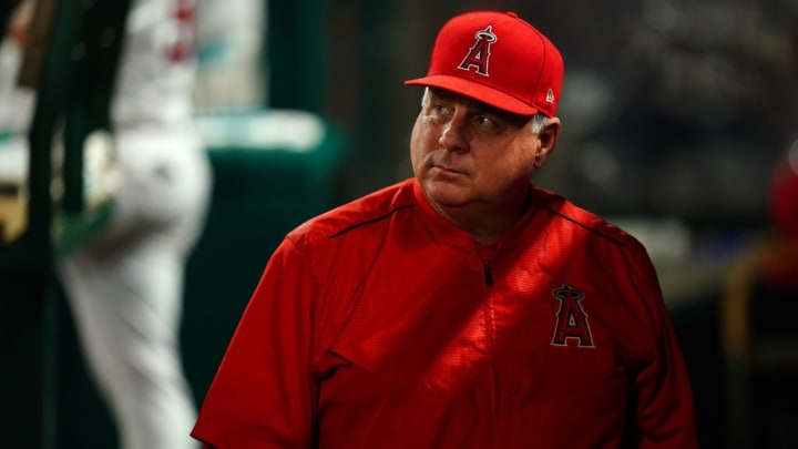 ANAHEIM, CA - SEPTEMBER 25:  Manager Mike Scioscia of the Los Angeles Angels of Anaheim looks on during the game against the Texas Rangers at Angel Stadium on September 25, 2018 in Anaheim, California.  (Photo by Masterpress/Getty Images)