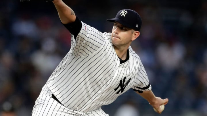 NEW YORK, NY - SEPTEMBER 03: James Paxton #65 of the New York Yankees pitches against the Texas Rangers during the fourth inning at Yankee Stadium on September 3, 2019 in the Bronx borough of New York City. (Photo by Adam Hunger/Getty Images)