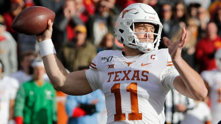 AMES, IA - NOVEMBER 16: Quarterback Sam Ehlinger #11 of the Texas Longhorns throws the ball in the first half of play at Jack Trice Stadium on November 16, 2019 in Ames, Iowa. The Iowa State Cyclones won 23-21 over the Texas Longhorns. (Photo by David K Purdy/Getty Images)