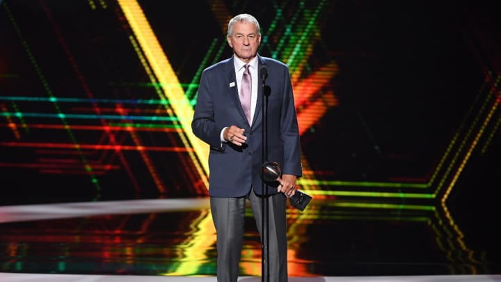 LOS ANGELES, CALIFORNIA - JULY 10: Jim Calhoun accepts the Best Coach award onstage during The 2019 ESPYs at Microsoft Theater on July 10, 2019 in Los Angeles, California. (Photo by Kevin Winter/Getty Images)