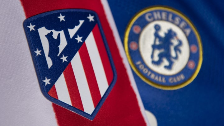 The Atletico Madrid and Chelsea Badges