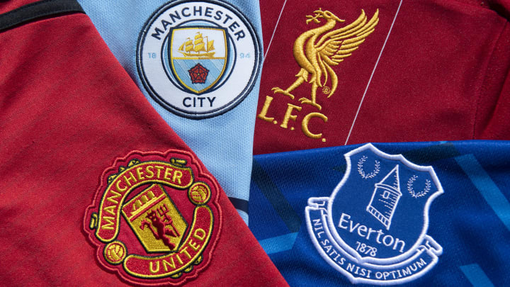 The Club Badges of the North West Premier League Clubs Everton, Liverpool, Manchester City and Manchester United