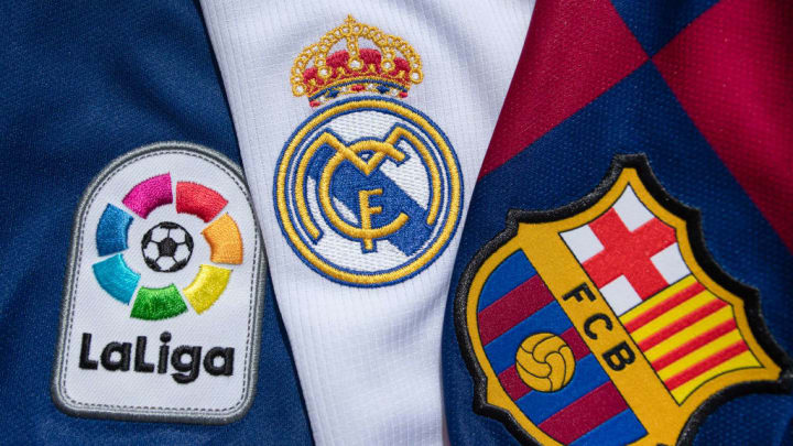 The FC Barcelona and Real Madrid Club Badges with the Lal Liga Logo