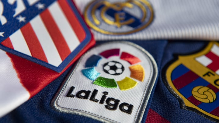 The La Liga Logo with the Atlético Madrid, Real Madrid and FC Barcelona Club Badges