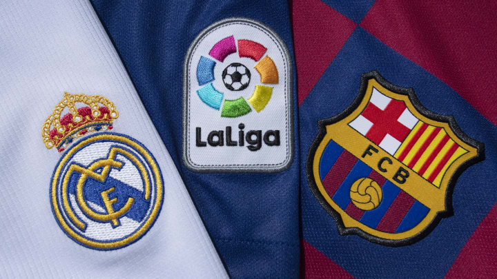 The La Liga logo with the FC Barcelona and Real Madrid Club Badges