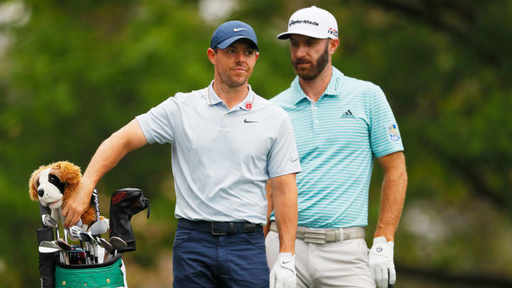 Rory McIlroy and Dustin Johnson at The Masters - Preview Day 1.