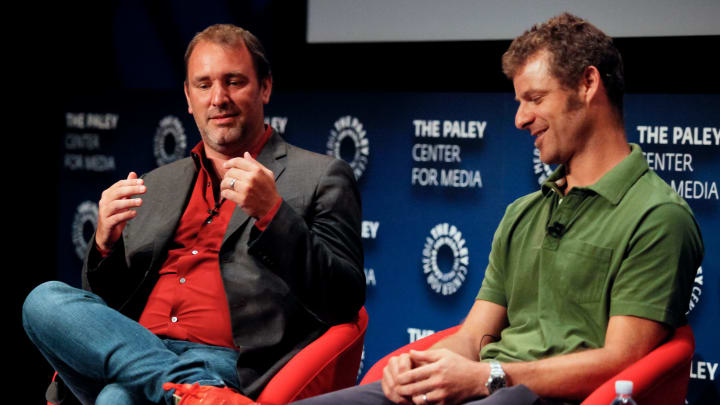 BEVERLY HILLS, CA - SEPTEMBER 01:  (L-R) Trey Parker and Matt Stone attend The Paley Center for Media presents special retrospective event honoring 20 seasons of 'South Park' at The Paley Center for Media on September 1, 2016 in Beverly Hills, California.  (Photo by Tibrina Hobson/Getty Images)