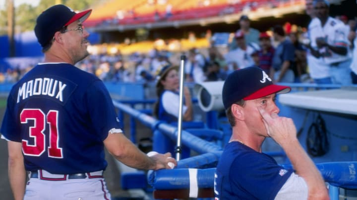 9 Sep 1997:  Tom Glavine and Greg Maddux of the Atlanta Braves during the Braves 4-3 win over the Los Angeles Dodgers at Dodger Stadium in Los Angeles, California. Mandatory Credit: Harry How  /Allsport