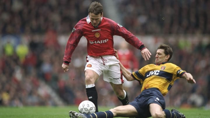 Tony Adams of Arsenal and Teddy Sheringham of Manchester United