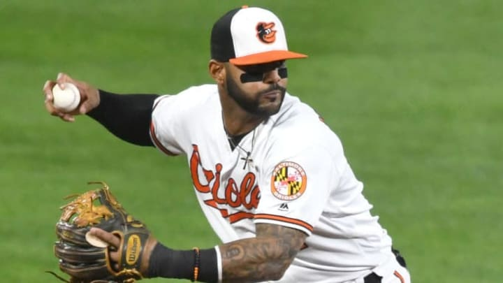 BALTIMORE, MD - SEPTEMBER 19:  Jonathan Villar #2 of the Baltimore Orioles fields a ground ball during a baseball game against the Toronto Blue Jays at Oriole Park at Camden Yards on September 19, 2019 in Baltimore, Maryland.  (Photo by Mitchell Layton/Getty Images)