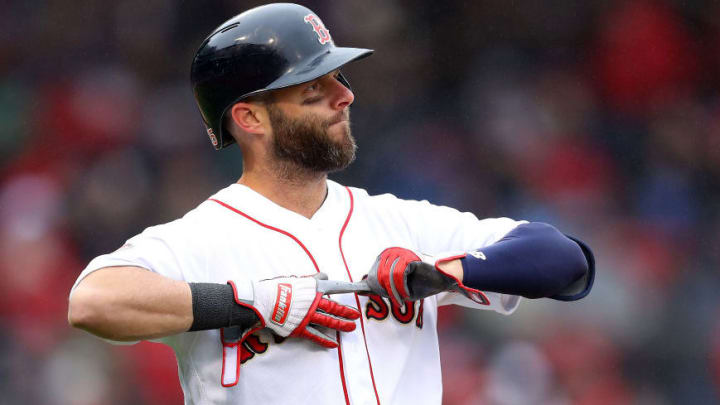 BOSTON, MASSACHUSETTS - APRIL 09: Dustin Pedroia #15 of the Boston Red Sox reacts during the sixth inning of the Red Sox home opening game against the Toronto Blue Jays at Fenway Park on April 09, 2019 in Boston, Massachusetts. (Photo by Maddie Meyer/Getty Images)