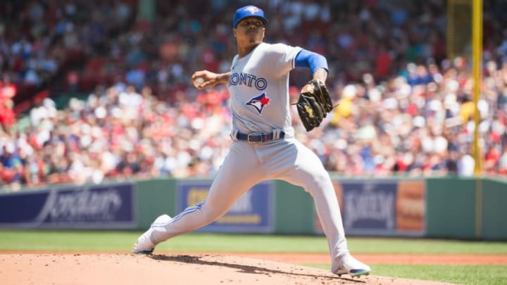 BOSTON, MA - JUNE 23: Marcus Stroman #6 of the Toronto Blue Jays pitches in the first inning against the Boston Red Sox at Fenway Park on June 23, 2019 in Boston, Massachusetts. (Photo by Kathryn Riley/Getty Images)