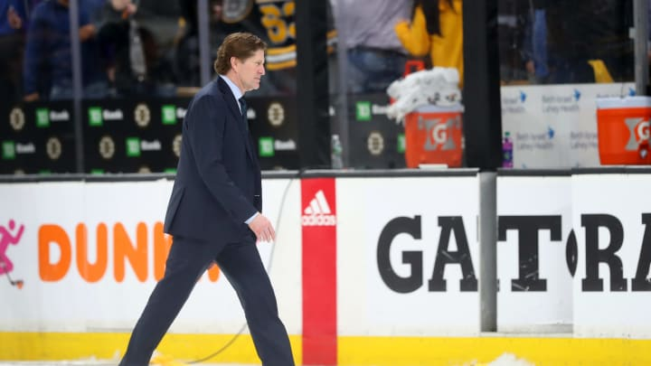 BOSTON, MASSACHUSETTS - APRIL 23: Head Coach Mike Babcock of the Toronto Maple Leafs exits the ice after the Maple Leafs lost 5-1 to the Boston Bruins in Game Seven of the Eastern Conference First Round during the 2019 NHL Stanley Cup Playoffs at TD Garden on April 23, 2019 in Boston, Massachusetts.  (Photo by Maddie Meyer/Getty Images)