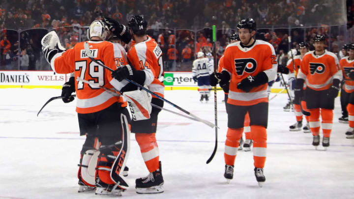 PHILADELPHIA, PENNSYLVANIA - MARCH 27: The Philadelphia Flyers celebrate a 5-4 shoot-out win over the Toronto Maple Leafs at the Wells Fargo Center on March 27, 2019 in Philadelphia, Pennsylvania. (Photo by Bruce Bennett/Getty Images)