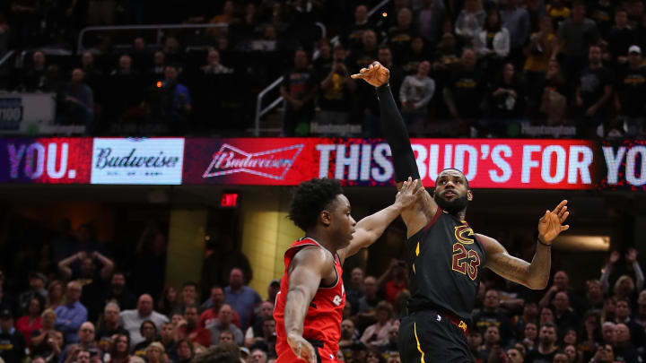 LeBron James fires off a game-winner over the Raptors' OG Anunoby in the 2018 NBA Playoffs