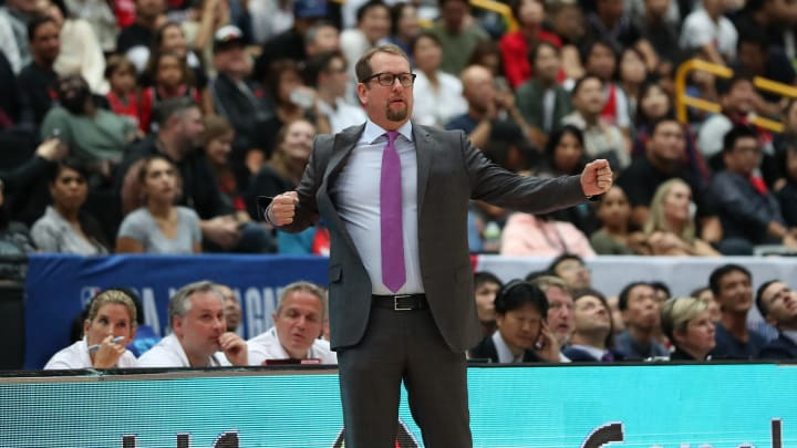SAITAMA, JAPAN - OCTOBER 10: Head Coach Nick Nurse of Toronto Raptors gestures during the preseason match between Toronto Raptors and Houston Rockets at Saitama Super Arena on October 10, 2019 in Saitama, Japan. NOTE TO USER: User expressly acknowledges and agrees that, by downloading and/or using this photograph, user is consenting to the terms and conditions of the Getty Images License Agreement. (Photo by Takashi Aoyama/Getty Images)