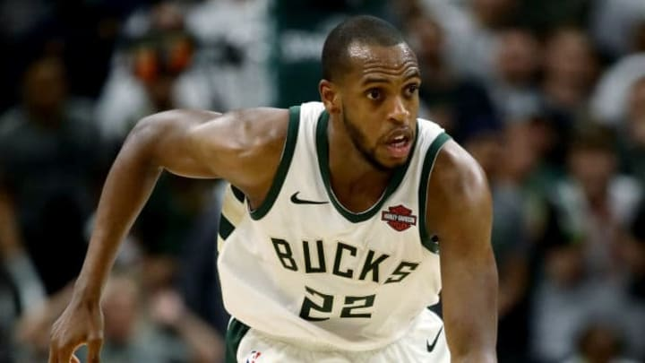 MILWAUKEE, WISCONSIN - MAY 15:  Khris Middleton #22 of the Milwaukee Bucks dribbles the ball in the fourth quarter against the Toronto Raptors in Game One of the Eastern Conference Finals of the 2019 NBA Playoffs at the Fiserv Forum on May 15, 2019 in Milwaukee, Wisconsin. NOTE TO USER: User expressly acknowledges and agrees that, by downloading and or using this photograph, User is consenting to the terms and conditions of the Getty Images License Agreement. (Photo by Jonathan Daniel/Getty Images)