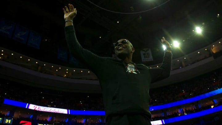 PHILADELPHIA, PA - MAY 05: NFL Hall of Famer Terrell Owens salutes the crowd during the game between the Toronto Raptors and Philadelphia 76ers in Game Four of the Eastern Conference Semifinals at the Wells Fargo Center on May 5, 2019 in Philadelphia, Pennsylvania. The Raptors defeated the 76ers 101-96. NOTE TO USER: User expressly acknowledges and agrees that, by downloading and or using this photograph, User is consenting to the terms and conditions of the Getty Images License Agreement. (Photo by Mitchell Leff/Getty Images)