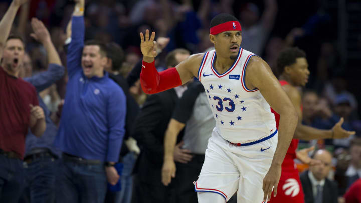 PHILADELPHIA, PA - MAY 09: Tobias Harris #33 of the Philadelphia 76ers reacts after making a three point basket against the Toronto Raptors in the first quarter of Game Six of the Eastern Conference Semifinals at the Wells Fargo Center on May 9, 2019 in Philadelphia, Pennsylvania. The 76ers defeated the Raptors 112-101. NOTE TO USER: User expressly acknowledges and agrees that, by downloading and or using this photograph, User is consenting to the terms and conditions of the Getty Images License Agreement. (Photo by Mitchell Leff/Getty Images)