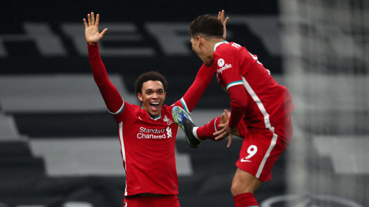 Firmino and Alexander-Arnold celebrate Liverpool's second