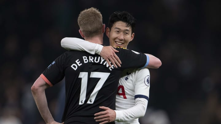 Kevin De Bruyne and Heung-Min Son embrace after Tottenham's 2-0 victory over Manchester City back in February
