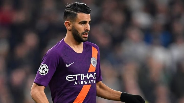 LONDON, ENGLAND - APRIL 09: Riyad Mahrez of Manchester City during the UEFA Champions League Quarter Final first leg match between Tottenham Hotspur and Manchester City at Tottenham Hotspur Stadium on April 09, 2019 in London, England. (Photo by Justin Setterfield/Getty Images)