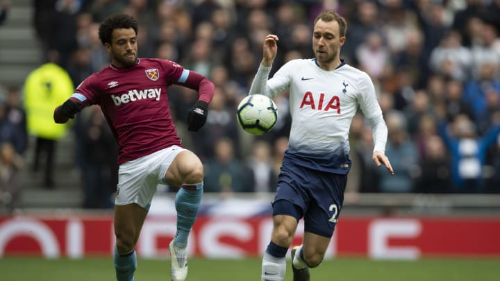 LONDON, ENGLAND - APRIL 27:  Felipe Anderson of West Ham United and Christian Eriksen of Tottenham Hotspur during the Premier League match between Tottenham Hotspur and West Ham United at Tottenham Hotspur Stadium on April 27, 2019 in London, United Kingdom. (Photo by Visionhaus/Getty Images)