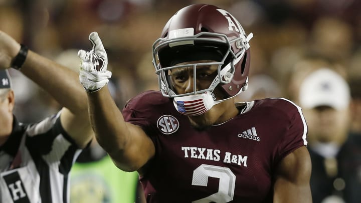 COLLEGE STATION, TEXAS - NOVEMBER 17: Jhamon Ausbon #2 of the Texas A&M Aggies signals first down after receiving  a catch in the second quarter against the UAB Blazers at Kyle Field on November 17, 2018 in College Station, Texas. (Photo by Bob Levey/Getty Images)
